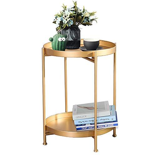 Mesita auxiliar dorada de metal dorado, moderna mesita de noche, pequeña mesa redonda de metal para sala de estar, dormitorio, cocina, comedor, sala de juegos y sala de recreo