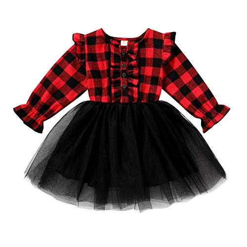 Toddler Kids Girls Clothes Christmas Dress Ruffle Red Plaid Black Mesh Skirt Outfits Overall Fall Winter (2-3T, Red Plaid Black mesh Dress Xmas)