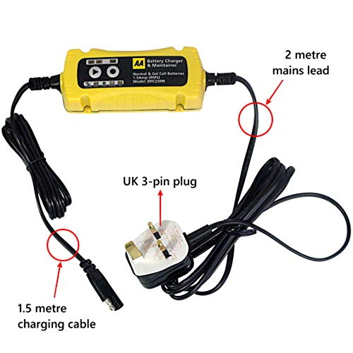 AA Battery Charger & Maintainer, for 6V & 12V lead acid and gel batteries – Black/yellow