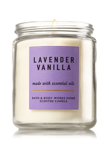 Bath and Body Works Lavender Vanilla Medium One Wick Candle. 7 Oz.
