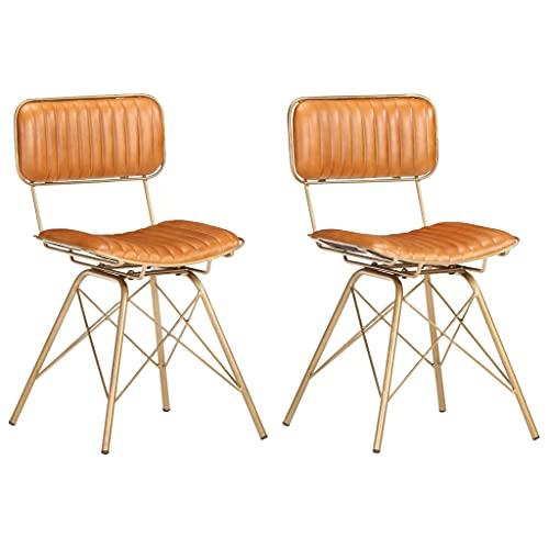 vidaXL 2X Sillas de Comedor Asiento Mobiliario Muebles Salón Sala de Estar Cocina Escritorio Suave Cómodo Cuero de Cabra Latón y Marrón