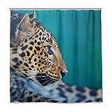 MNSRUU Leopard Muster Duschvorhang Badezimmer Vorhang inkl. 12 Haken Polyester Stoff Deko Badezimmer Wasserdicht Schimmelfest für Zuhause & Hotel