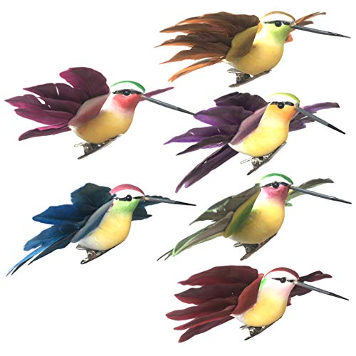BANBERRY DESIGNS Humming Bird Clip On Ornaments - Set of 12 Flying Humming Birds Assorted Colors - Silver Metal Clips Attached Craft Bird - 4 Inches Long and 4.5 Inch Wingspan