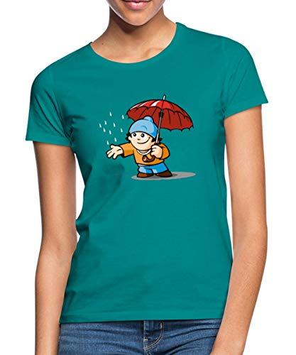 Mainzelmännchen Conni Mit Regenschirm Frauen T-Shirt, XL, Grau meliert