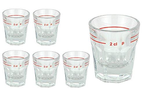 Van Well Set van 6 gedistilleerde drankglazen lansteen met maatstreep | 2 cl | jeneverglaasjes | Stamper | Shot Glas | hoogwaardig partyglas | glanzend | Gastro