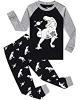 Glow in The Dark Dinosaur Big Boys Long Sleeve Pajamas Sets 100% Cotton Pyjamas Kids Pjs Size 12 Navy Blue