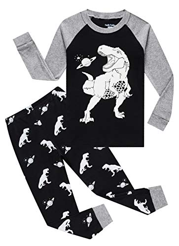 Glow in The Dark Dinosaur Baby Boys Long Sleeve Pajamas Sets 100% Cotton Pyjamas Kids Pjs Size 18-24Months Navy Blue