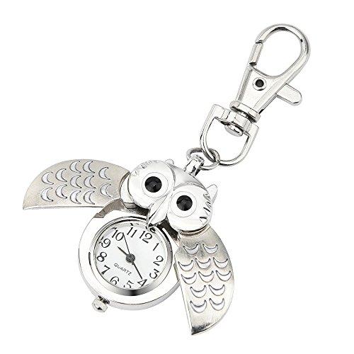 Orologio da polso donna Ronamick alla moda meraviglioso gufo Watch Clip Pocket Keychain orologio da polso orologio. Bianco