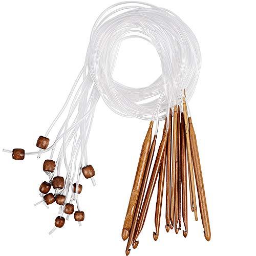 Mirrwin Crochet Hooks Stricknadeln Häkelnadel Nadel Set Tunesische Häkelnadel Set 12 Stück Teppich Häkeln Nadeln Häkeln Haken Stricknadeln in Verschiedenen Größen Mit Kunststoff-Kabelenden (3mm-10mm)