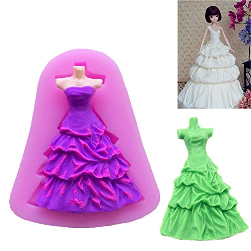 NTBAY Rock Kleid Form Silikonform Kuchen Schokolade Formen Kekse Gebäck Pudding Eiswürfelform Hochzeitsdekoration DIY Backwerkzeuge