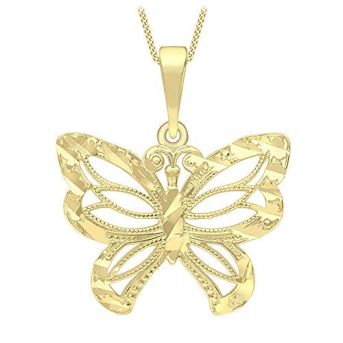 Carissima Gold Damen-Kette mit Anhänger 9ct Yellow Diamond Cut and Milgrain Butterfly Pendant Necklace 46cm/18