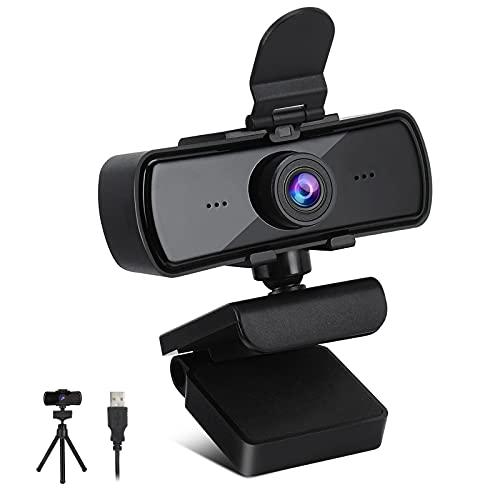 Webcam Per PC, 2K 1440P Full HD Video Camera Webcam PC con Microfono Plug and Play USB Fotocamera FHD Laptop PC Portatile Streaming Web Camera per Video Games, Videochiamate, Conferenza, Studio