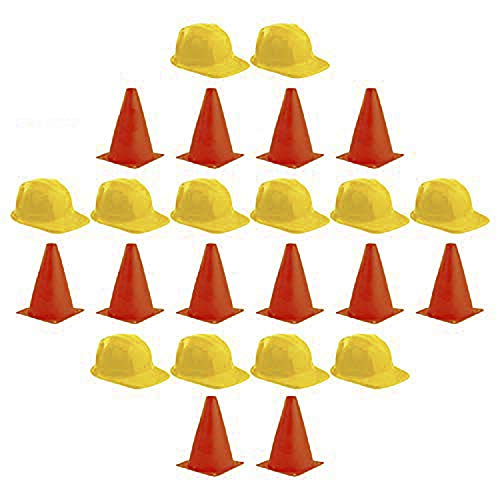 Adorox Set of 12 Construction Hats & Set of 12 Plastic Traffic Cones for Construction Theme Party Sports Activity Cones for Kids Outdoor and Indoor Gaming and Festive Events
