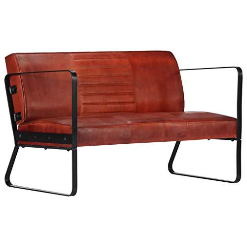 vidaXL Sofá 2 Plazas Piel Auténtica Diseño Estilo Retro Vintage Elegante Sillón Tapizado Cuero Verdadero Patas Reposabrazos Metal Hierro Marrón Negro