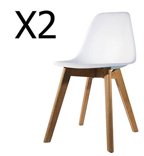 PEGANE Lot de 2 chaises pour Enfant en Bois et polypropylène Coloris Blanc - Dim : H 57.5 x L 35 x P 37 cm