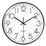 LiRiQi Orologio da Parete, Silenzioso Senza Ticchettio, 30cm Orologio al Quarzo Semplice Classico Grandi Numeri 3D, Decorazione da Parete, Moderno Orologio da Parete Silenzioso per Casa Ufficio Cucin