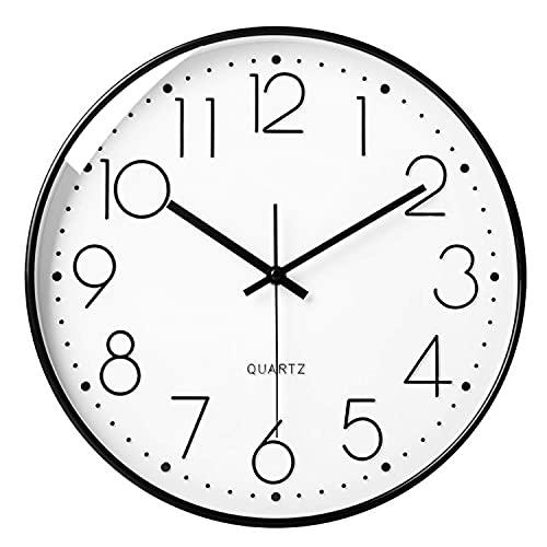 LiRiQi Reloj de Pared Moderno, 30 cm Grandes Decorativos Silencioso Interior Reloj de Cuarzo de Cuarzo Redondo No-Ticking para Sala de Estar, Diseño Moderno Apto para Decorar Hogar Oficina Escuela