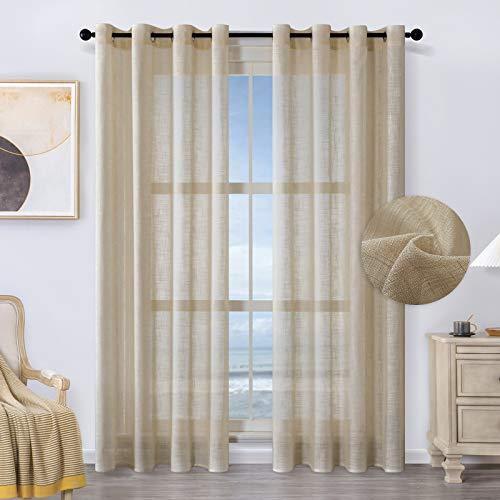 MRTREES Voile Gardinen kurz 2er-Set Leinenoptik Vorhang mit Ösen im Modernen Stores Gardinen Schals Braun 225×140 (H×B) für Wohnzimmer Schlafzimmer Kinderzimmer
