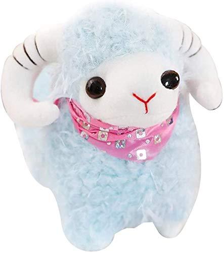 Simulación Little Sheep Encantadora lámpara de felpa Ovejas Juguetes de peluche, Muppets de cabra Muñecas de juguete de peluche Muñeca de relleno suave para el hogar Sofá cama Decoración Azul