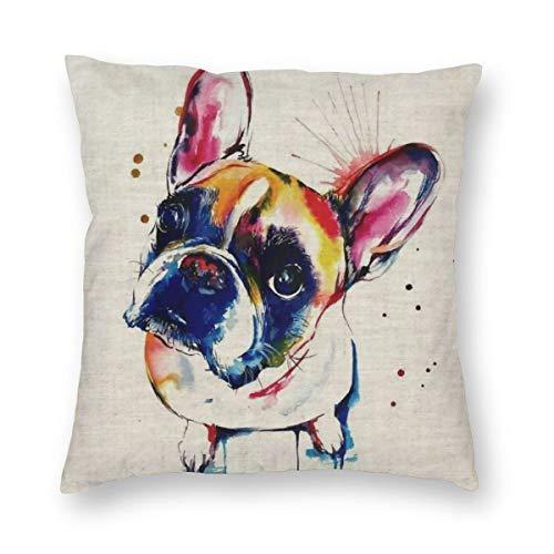 antcreptson French Bulldog Animal Cushion Cover Boston Terrier Dog Decorative Cushion Covers Bulldog Throw Pillow Car Chair Home Decor Pillow Case for Sofa 18x18 Inches