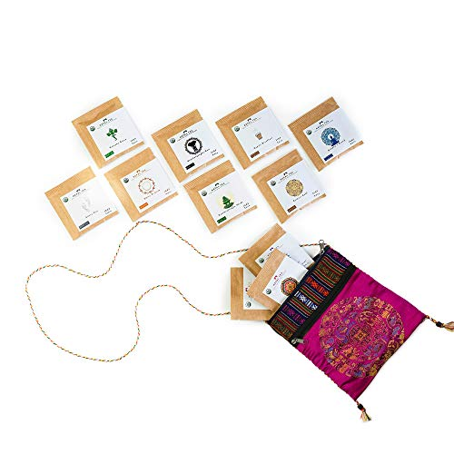 Leaf Tea Sampler Set Travel Pouch, Loose Leaf Tea Set, Nepali Tea Leaves Gift Set, Loose Leaf Tea Variety, Loose Tea Sampler Tea Kit from the Himalayas, 11 ct. 4.5 oz. (Approx. 25 to 30 Cups of Tea) Pink - Nepal Tea