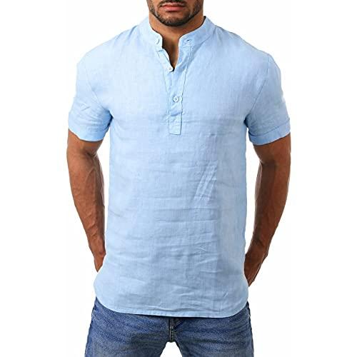 SSBZYES Camisas De Hombre Camisas De Verano De Manga Corta Camisetas De Hombre Camisas De Hombre De Gran Tamaño Cuello Alto De Hombre Camisas De Manga Corta De Lino De Algodón De Comercio Exterior