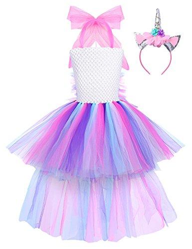 iEFiEL Mädchen Einhorn Kostüm Set Prinzessin Kleid mit Blumen Haarreif für Kinder Kostüm Karneval Party Halloween Verkleidung Outfits (104-110, Z Bunt)
