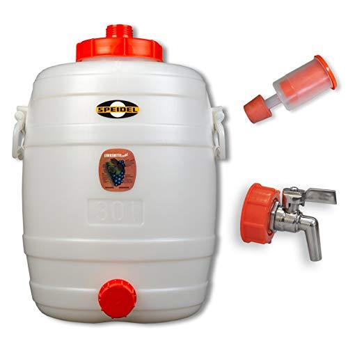Speidel Getränkefass Rund 30 Liter mit Messing Auslaufhahn incl. Gärspund