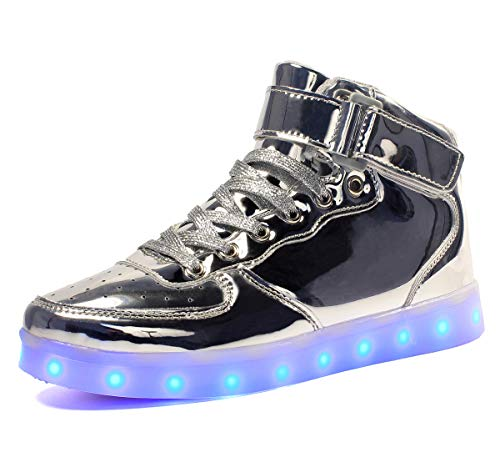 Niños Zapatillas Led Luminioso con Unisex Hip Tops Sneakers Zapatos con Luces plata39