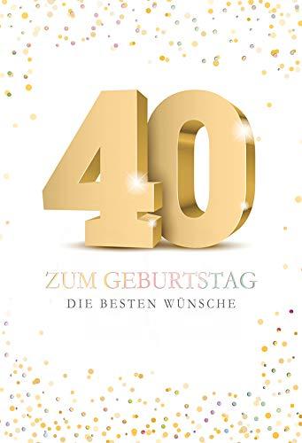KE - Geburtstagskarte 40 - Geburtstagskarte - Format DIN B6 176 x 125 mm - Klappkarte inkl. Umschlag, Motiv Punkte