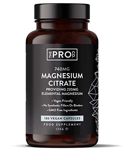 Citrato di magnesio 740 mg a capsula - Approvato PETA - 180 capsule di magnesio vegano - Integratori di magnesio ad alto assorbimento - Alta resistenza – Fornitura 180 giorni - The Pro Co.