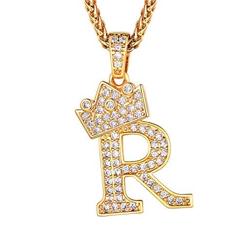 Iced Out Alphabet Jewellery, Crown Capital Letter R Pendant Necklace & Resizable Wheat Chain(22'+2'), 18K Gold Plated Bling Bling Men Chain Full Cubic Zirconia Initial Necklace (Gift Packaging)