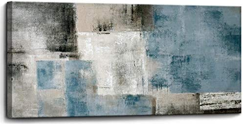 Blue Abstract Wall Art Decor Hand Painted Oil Painting on Canvas Framed 30 inches x 60 inches product image