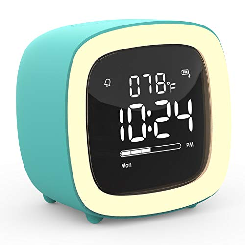 Kids Alarm Clock, Cute-TV Night Light Alarm Clock for Kids, Girls, Children, Bedroom, Rechargeable Battery Operated Alarm Clock with Sleep Timer, Indoor Thermometer - Cyan