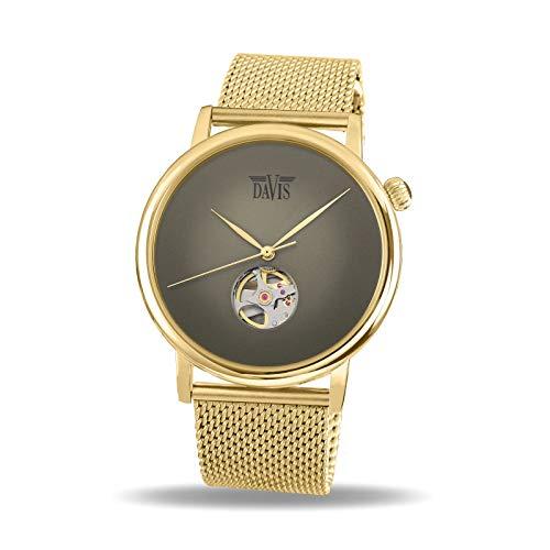 Davis - Orologio Automatico Design Cuore Aperto Cinturino Mesh (Acciaio...