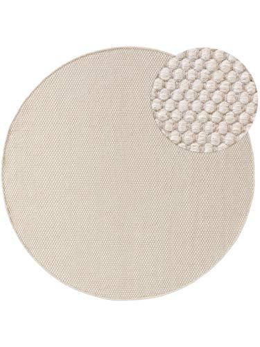 Benuta Wollteppich Rocco Weiß ø 100 cm rund Kurzflor Flachgewebe für Wohnzimmer, Schlafzimmer, Esszimmer oder Kinderzimmer