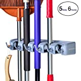 ROCKBIRDS Mop Broom Holder, Garden Tools Wall Mounted Commercial Organizer Saving Space Storage Rack for Kitchen Garden and Garage (5 Position with 6 Hooks) (1 Pack New)
