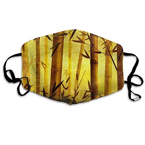 Unisex Print Mond Masker - Afrikaanse wilde dieren Illustratie Polyester Anti-Dust Mond-Muffle - Mode Gewassen Herbruikbare Gezichtsmaskers voor Outdoor Fietsen Eén maat Artistieke Bamboe Tekening Kunst
