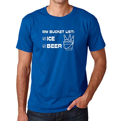 CBTwear My Bucket List: Beer and Ice! - College Drinking Party Humor Tee, Beer Lovers - Men's T-Shirt (Royal Blue, Large)