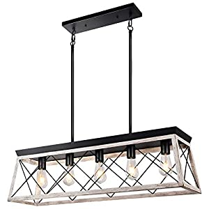 Merbotin Farmhouse Kitchen Island Light, 5-Light Distressed White Wood Finish Rustic Dining Table Chandelier Ceiling Light Hanging for Dining Room, Kitchen Island - Grain White Wood Finish…