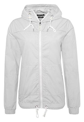 Eight2Nine Damen Übergangsjacke mit Bündchen | Frühlingsjacke | Leichte Kapuzenjacke Grey L