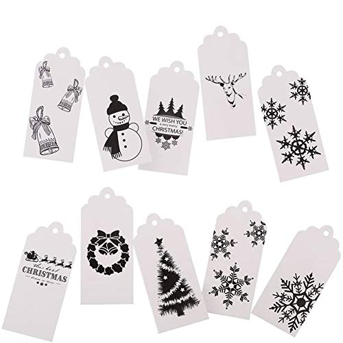 DECORA 120pcs White Christmas Tags and 196 FT Twine 10 Different Designs Gift Wrapping Tags