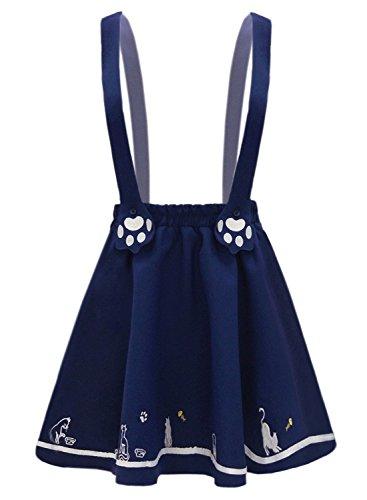 Futurino Minifalda plisada con dos tirantes y zarpas de gato bordadas para mujer Azul azul marino 40