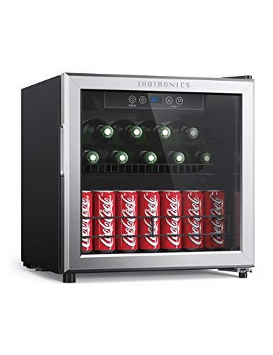 TaoTronics Beverage Refrigerator Cooler Freestanding Bar Fridge for Soft Drink Beer Soda, Mini Beverage Center with Digital Control for Home Office, low-E glass door, Adjustable Shelf, 1.6 cu. ft.