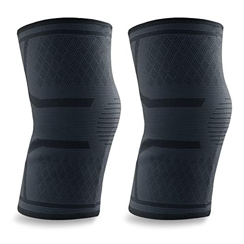 Kniebandage Knieschoner für Sport Kniebandage für Damen und Herren 3D-gestrickt atmungsaktiv und schweißabsorbierend mit Silikonring Geeignet für Indoor-Fitness Radfahren im Freien Laufsport(XL)