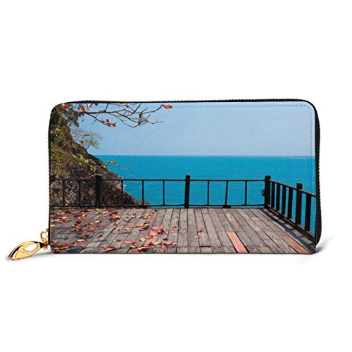 Women's Long Leather Card Holder Purse Zipper Buckle Elegant Clutch Wallet, Terrace Rock On The Sea with Autumn Leaves Branches and Trees Nature,Sleek and Slim Travel Purse