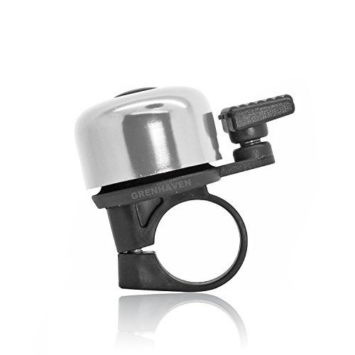 Preisvergleich Produktbild Grenhaven Kleine Fahrradklingel Fahrradglocke Silber rostfrei robustes Alu Aluminium-Gehäuse Mini Glocke 18g,  5 cm Länge