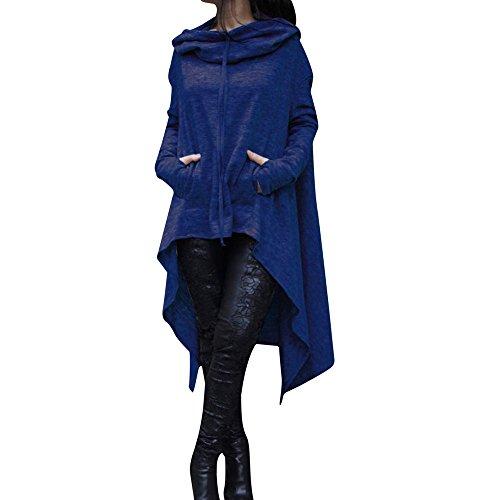 YWLINK Frauen Elegant Asymmetrische Bluse Loser Hoodie Lange Kapuze Oberteile Damen Sweatshirt Pulli Pullover Rollkragen(S,Blau)