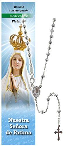 Rosario Virgen de Fátima de plata 925 con cuentas de Ø 3 mm y oración en español