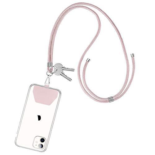 CE-Link para Llavero con Cordón con Cuerda Cadena de Teléfono Celular Universal de Movil con Colgante en el Cuello para iPhone/Samsung/Huawei/Xiaomi/Blackview/Moto/OnePlus/LG - Oro Rosa